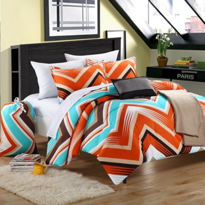 Chic Home Zimba 7-Piece Twin Comforter Set in Red