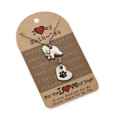 For the Love of Dogs Shih-Tzu Necklace and Pet Charm Set in Silver/Gold