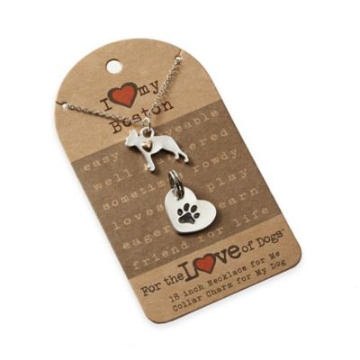 For the Love of Dogs Boston Terrier Necklace and Pet Charm Set in Silver/Gold