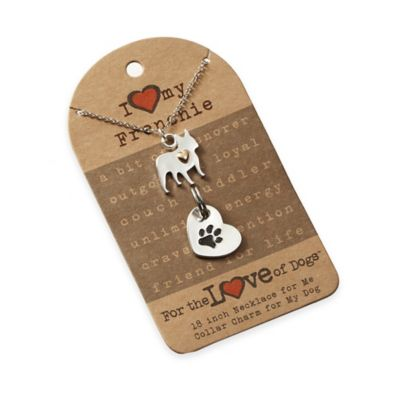 For the Love of Dogs French Bulldog Necklace and Pet Charm Set in Silver/Gold