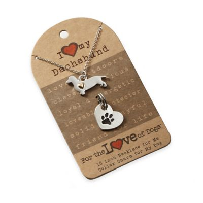 For the Love of Dogs Dachshund Necklace and Pet Charm Set in Silver/Gold