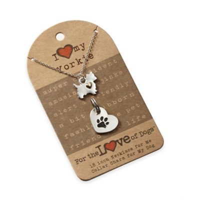 For the Love of Dogs Yorkie Necklace and Pet Charm Set in Silver/Gold