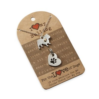 For the Love of Dogs English Bulldog Necklace and Pet Charm Set in Silver/Gold