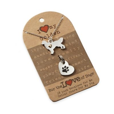 For the Love of Dogs Golden Retriever Necklace and Pet Charm Set in Silver/Gold