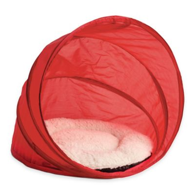 Pop-Up Pet Bed in Red/Beige