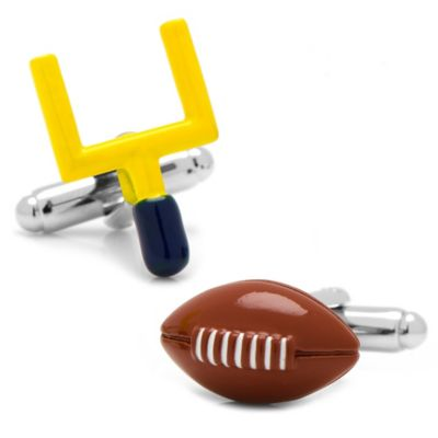 Silver-Plated Football and Goal Post Cufflinks