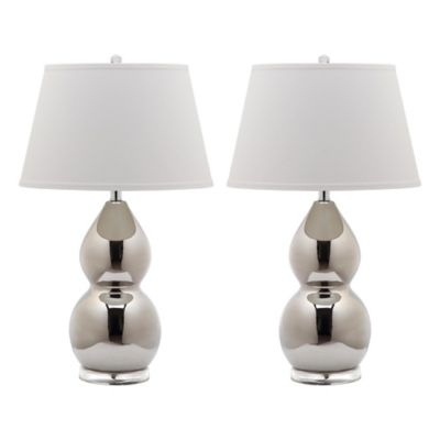 Safavieh Jill 1-Light Double Gourd Table Lamps in Fern Green with Cotton Shade (Set of 2)