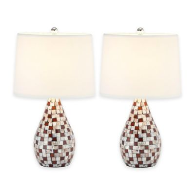 Safavieh Lauralie Capiz Shell Table Lamps in Brown with White Shade (Set of 2)