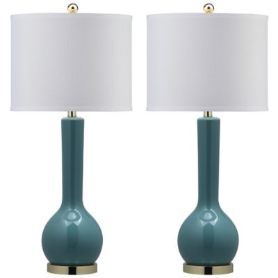 Safavieh Mae Long Neck Table Lamps in Marine Blue with White Shades (Set of 2)