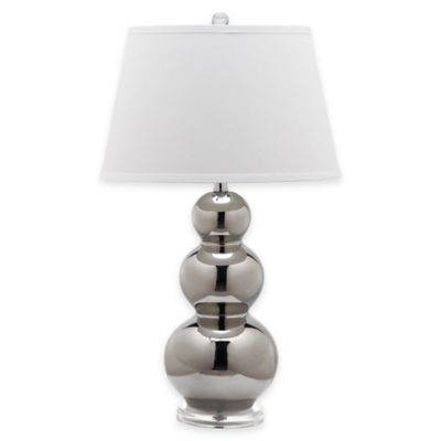 Safavieh Pamela 1-Light Triple Round Gourd Table Lamp in Silver with Cotton Shade