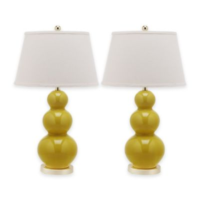 Safavieh Pamela 1-Light Triple Round Gourd Table Lamps with Cotton Shade (Set of 2)