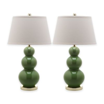 Safavieh Pamela 1-Light Triple Round Gourd Table Lamps in Fern Green with Cotton Shade (Set of 2)