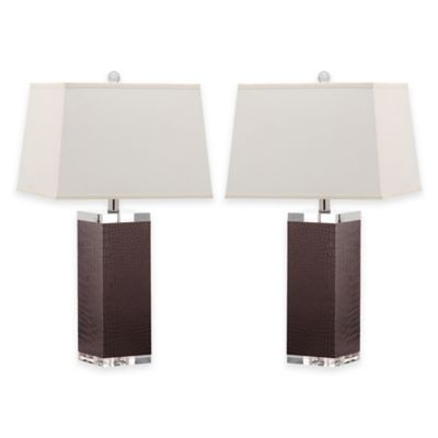 Safavieh Deco Faux Leather Table Lamps in Blue with Cotton Shades (Set of 2)