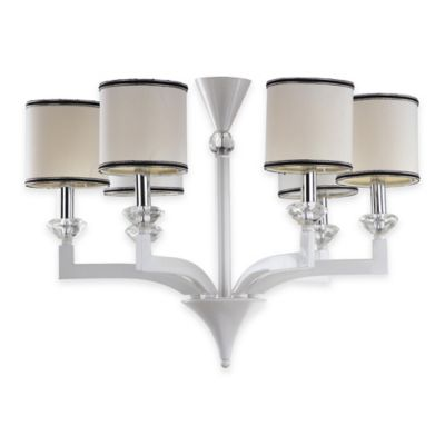 Safavieh Erin 6-Light Chandelier in Pearl White with Cotton Shades