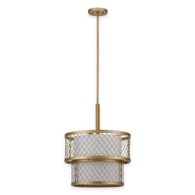 Safavieh Evie Mesh 6-Light Pendant in Antique Gold with White Shade