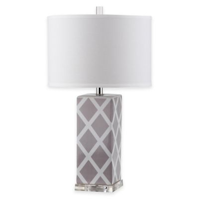 Safavieh Garden Lattice 1-Light Acrylic Table Lamp with Cotton Shade in Grey