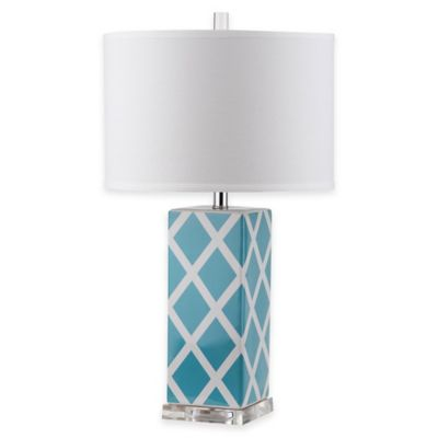 Safavieh Garden Lattice 1-Light Acrylic Table Lamp with Cotton Shade in Grey