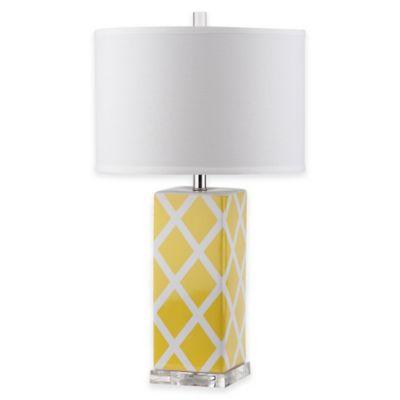 Safavieh Garden Lattice 1-Light Acrylic Table Lamp with Cotton Shade in Yellow