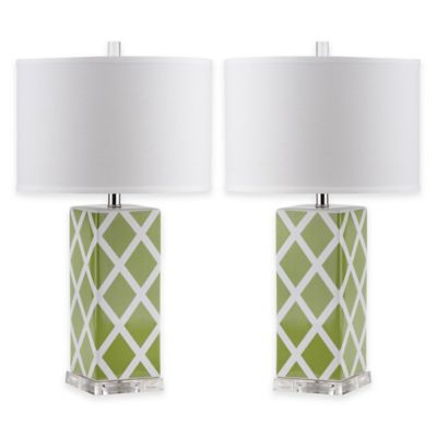 Safavieh Garden Lattice 1-Light Acrylic Table Lamp in Green with Cotton Shade (Set of 2)