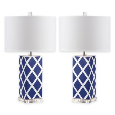 Safavieh Garden Lattice 1-Light Acrylic Table Lamps in Light Blue with Cotton Shades (Set of 2)