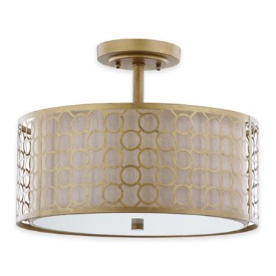 Safavieh Giotta 3-Light Ceiling Lamp in Antique Gold with Cream Shade
