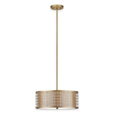 Safavieh Giotta 3-Light Pendant in Antique Gold with Cream Shade