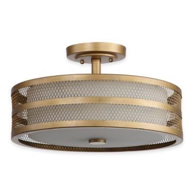 Safavieh Greta Veil 3-Light Ceiling Lamp in Antique Gold with White Etched Glass Shade