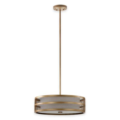 Safavieh Greta Veil 4-Light Pendant in Antique Gold with White Etched Glass Shade