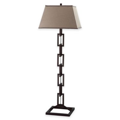 Safavieh Jamesville 1-Light Chain Link Table Lamp in Bronze with Linen Shade