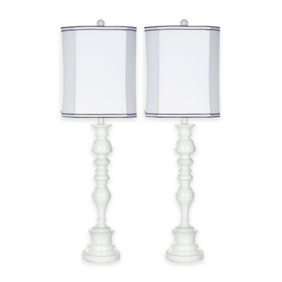 Safavieh Polly 1-Light Candlestick Table Lamps in White (Set of 2)