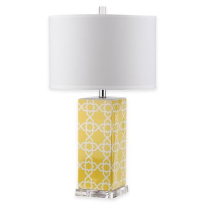 Safavieh Quatrefoil 1-Light Acrylic Table Lamp in Blue with White Shade