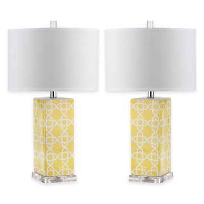 Safavieh Quatrefoil 1-Light Acrylic Table Lamps in Yellow with White Shades (Set of 2)