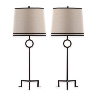 Safavieh Shotwell 1-Light Metal Table Lamps in Bronze/Beige with Natural Linen Shades (Set of 2)