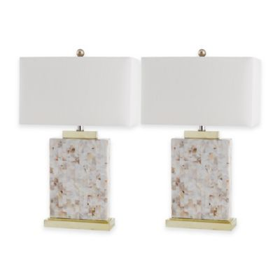Safavieh Tory Shell Table Lamps with White Shades (Set of 2)