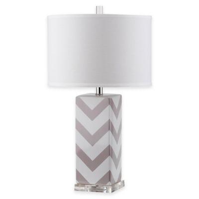 Safavieh Chevron Table Lamp in Grey with Cotton Hardback Drum Shade