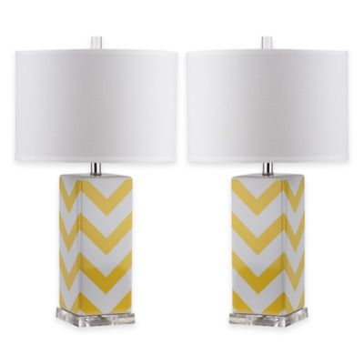 Safavieh Chevron Table Lamps in Yellow with Cotton Hardback Drum Shade (Set of 2)