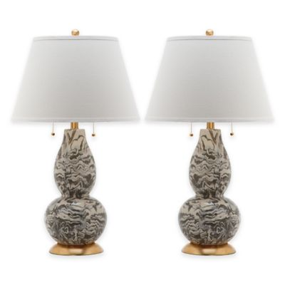 Safavieh Color Swirls Glass Table Lamp in Grey with Cotton Shade (Set of 2)
