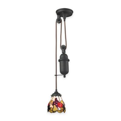 Elk Lighting Tiffany 1-Light Pull Down Pendant Light with Fruit Glass Shade
