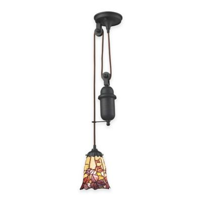 Elk Lighting Tiffany 1-Light Pull Down Pendant Light with Floral Glass Shade