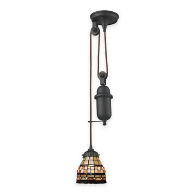 Elk Lighting Tiffany 1-Light Pull Down Pendant Light with Brown Multi Glass Shade