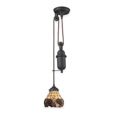Elk Lighting Tiffany 1-Light Pull Down Pendant Light with Grapes Glass Shade