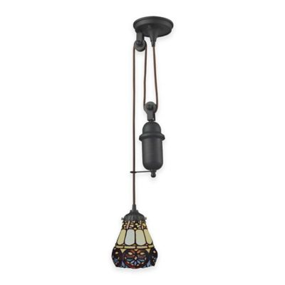 Elk Lighting Tiffany 1-Light Pull Down Pendant Light with Multi Border Glass Shade