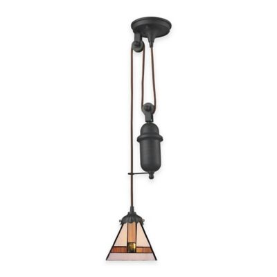 Elk Lighting Tiffany 1-Light Pull Down Pendant Light with Arts and Crafts Glass Shade
