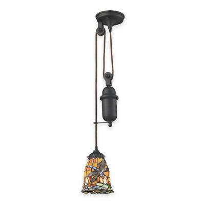 Elk Lighting Tiffany 1-Light Pull Down Pendant Light with Dragonfly Glass Shade