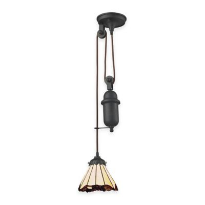 Elk Lighting Tiffany 1-Light Pull Down Pendant Light with Berry Glass Shade