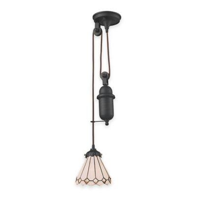 Elk Lighting Tiffany 1-Light Pull Down Pendant Light with Cream Glass Shade