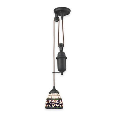 Elk Lighting Tiffany 1-Light Pull Down Pendant Light with Vine Glass Shade