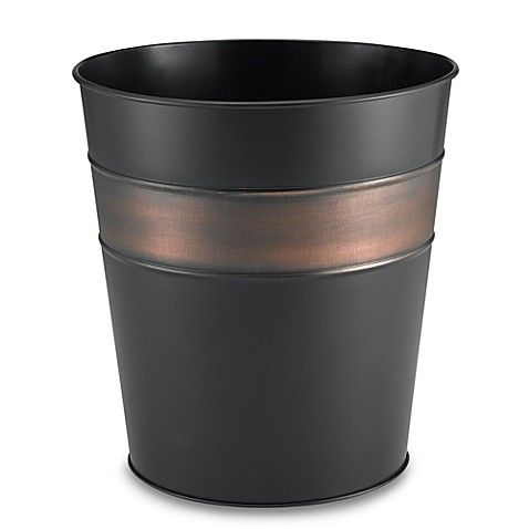 Oil rubbed bronze bathroom wastebasket
