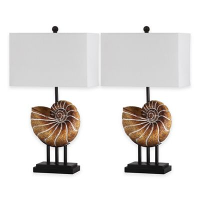 Safavieh Nautilus 1-Light Shell Table Lamps in Light Brown with Cotton Shade (Set of 2)