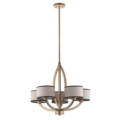 Safavieh Talia 5-Light Chandelier in Antique Gold with Shades